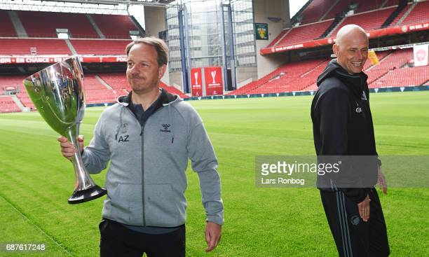 Alexander Zorniger head coach of Brondby IF and Stale Solbakken head coach of FC Copenhagen with the trophy during the Danish FA press conference the...