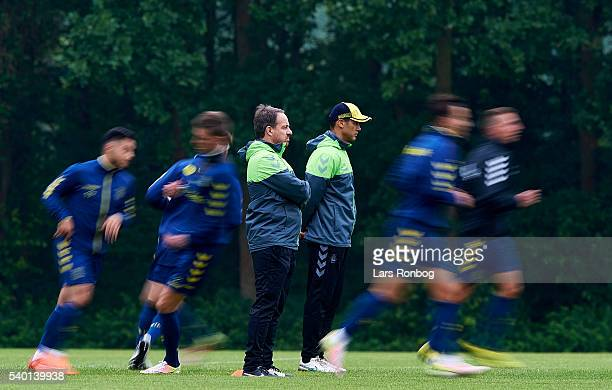 Alexander Zorniger head coach of Brondby IF and Tamas Bodog assistant coach of Brondby IF looks on during the Brondby IF training session at Brondby...
