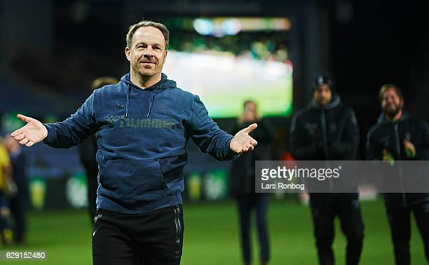 Alexander Zorniger head coach of Brondby IF celebrates after the Danish Alka Superliga match between Brondby IF and FC Midtjylland at Brondby Stadion...