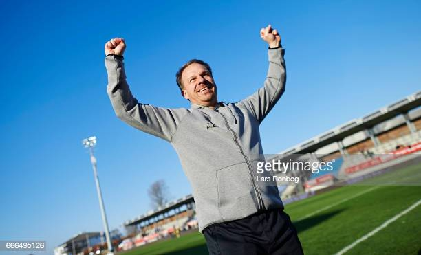 Alexander Zorniger head coach of Brondby IF celebrates after the Danish Alka Superliga match between Lyngby BK and Brondby IF at Lyngby Stadion on...