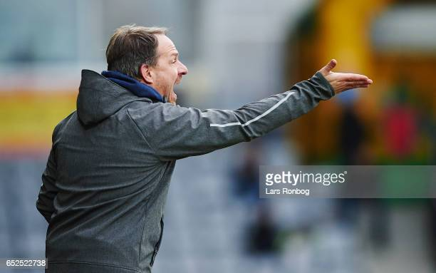 Alexander Zorniger head coach of Brondby IF gestures during the Danish Alka Superliga match between AC Horsens and Brondby IF at Casa Arena Horsens...