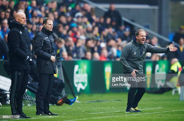 Alexander Zorniger head coach of Brondby IF gestures during the Danish Alka Superliga match between Brondby IF and FC Copenhagen at Brondby Stadion...