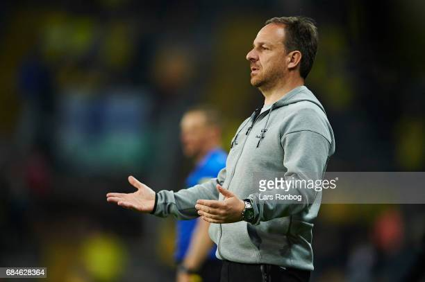 Alexander Zorniger head coach of Brondby IF gestures during the Danish Alka Superliga match between Brondby IF and Lyngby BK at Brondby Stadion on...