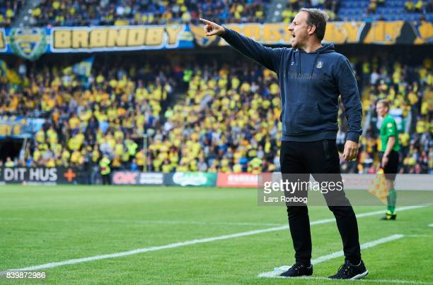 Alexander Zorniger head coach of Brondby IF gestures during the Danish Alka Superliga match between Brondby IF and AC Horsens at Brondby Stadion on...