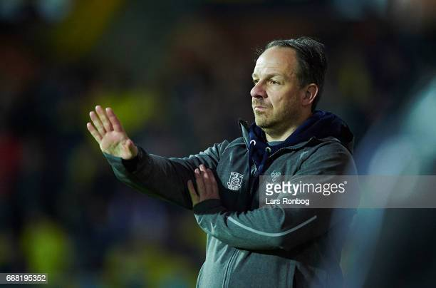 Alexander Zorniger head coach of Brondby IF gestures during the Danish Cup DBU Pokalen quarterfinal match between Randers FC and Brondby IF at...
