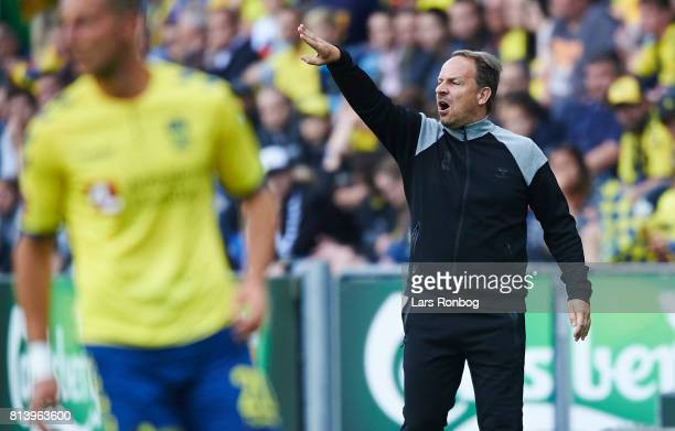 Alexander Zorniger head coach of Brondby IF gestures during the UEFA Europa League Qualification match between Brondby IF and VPS Vaasa at Brondby...