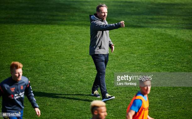 Alexander Zorniger head coach of Brondby IF gestures prior to the Danish Alka Superliga match between Lyngby BK and Brondby IF at Lyngby Stadion on...
