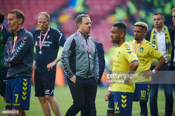 Alexander Zorniger head coach of Brondby IF looks dejected after the Danish Cup Final DBU Pokalen match between FC Copenhagen and Brondby IF at Telia...