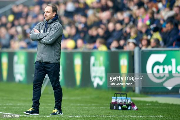 Alexander Zorniger head coach of Brondby IF looks on during the Danish Alka Superliga match between Brondby IF and FC Midtjylland at Brondby Stadion...