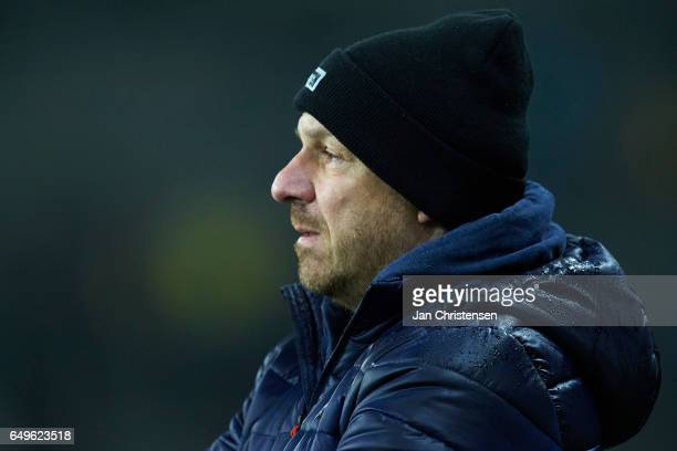 Alexander Zorniger head coach of Brondby IF looks on during the Danish Cup DBU Pokalen match between BK Marienlyst and Brondby IF at Brondby Stadion...