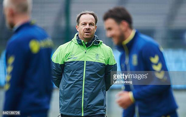 Alexander Zorniger head coach of Brondby IF looks on during the Brondby IF training session at Brondby Stadion on June 14 2016 in Brondby Denmark