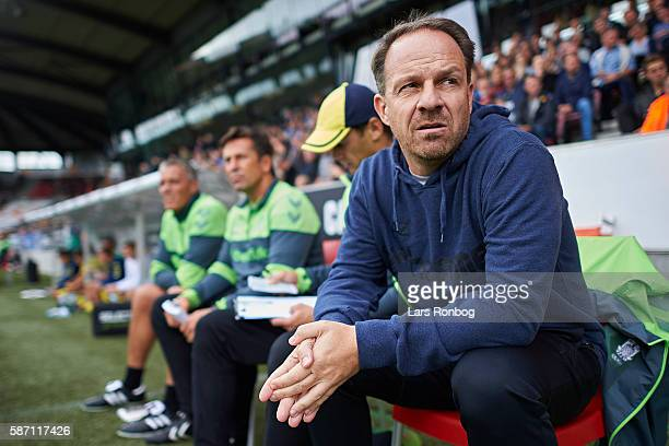 Alexander Zorniger head coach of Brondby IF looks on prior to the Danish Alka Superliga match between FC Midtjylland and Brondby IF at MCH Arena on...