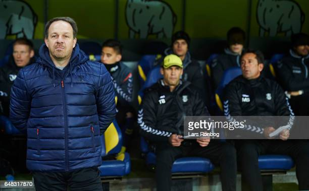 Alexander Zorniger head coach of Brondby IF looks on prior to the Danish Alka Superliga match between Brondby IF and FC Nordsjalland at Brondby...