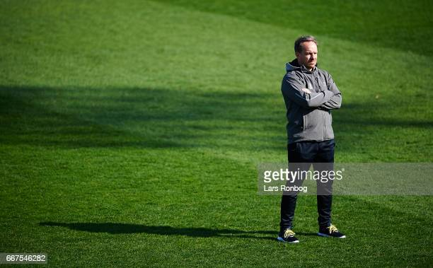 Alexander Zorniger head coach of Brondby IF looks on prior to the Danish Alka Superliga match between Lyngby BK and Brondby IF at Lyngby Stadion on...