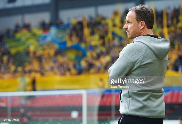 Alexander Zorniger head coach of Brondby IF looks on prior to the Danish Alka Superliga match between FC Copenhagen and Brondby IF at Telia Parken...