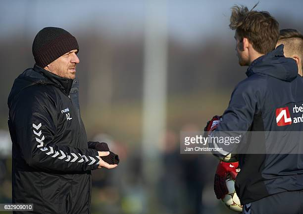 Alexander Zorniger head coach of Brondby IF prior to the preseason friendly match between Brondby IF and Roskilde FC at Brondby Stadion on January 28...