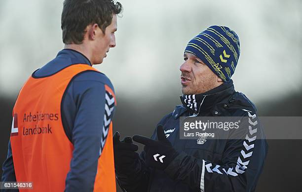 Alexander Zorniger head coach of Brondby IF speaks to Gustaf Nilsson of Brondby IF during the Brondby IF training session at Brondby Stadion on...