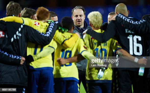 Alexander Zorniger head coach of Brondby IF speaks to his players after the Danish Cup DBU Pokalen quarterfinal match between Randers FC and Brondby...
