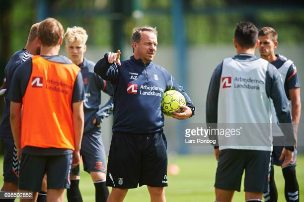 Alexander Zorniger head coach of Brondby IF speaks to his players during the Brondby IF training session at Brondby Stadion on June 20 2017 in...