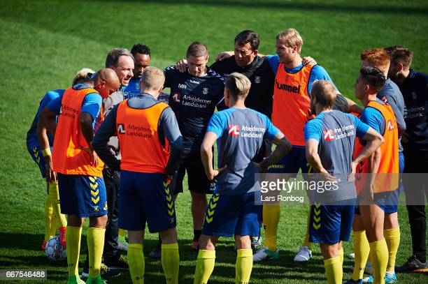 Alexander Zorniger head coach of Brondby IF speaks to his players prior to the Danish Alka Superliga match between Lyngby BK and Brondby IF at Lyngby...