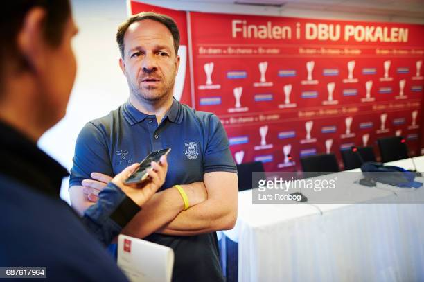 Alexander Zorniger head coach of Brondby IF speaks to the media during the Danish FA press conference the day before the Cup Final DBU Pokalen match...
