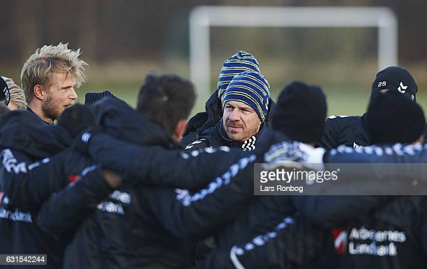 Alexander Zorniger head coach of Brondby IF speaks to the players during the Brondby IF training session at Brondby Stadion on January 12 2017 in...