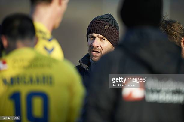Alexander Zorniger head coach of Brondby IF talk to the players prior to 2 half of the preseason friendly match between Brondby IF and Roskilde FC at...