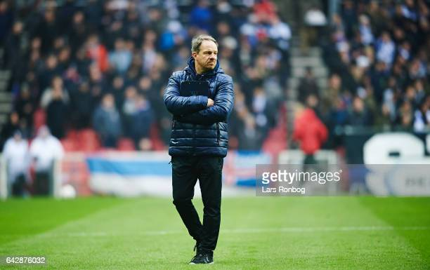 Alexander Zorniger head coach of Brondby IF walks on the pitch prior to the Danish Alka Superliga match between FC Copenhagen and Brondby IF at Telia...