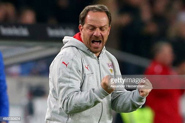 Alexander Zorniger head coach of Stuttgart celebrates the 1st team goal during the Bundesliga match between VfB Stuttgart and FC Ingolstadt at...