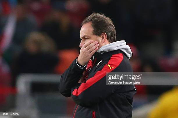 Alexander Zorniger head coach of Stuttgart looks on during the Bundesliga match between VfB Stuttgart and FC Augsburg at MercedesBenz Arena on...