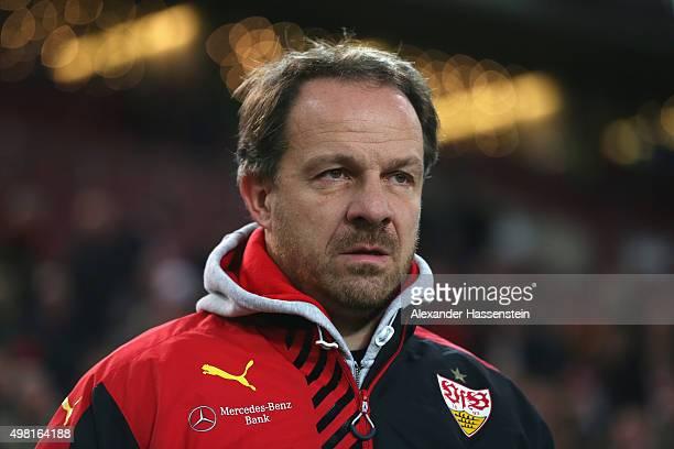 Alexander Zorniger head coach of Stuttgart looks on prior to the Bundesliga match between VfB Stuttgart and FC Augsburg at MercedesBenz Arena on...
