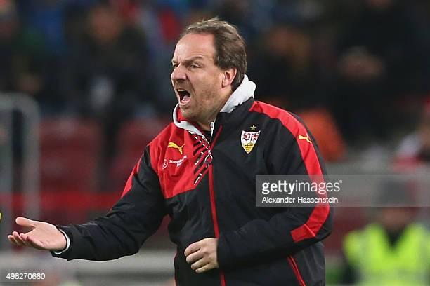 Alexander Zorniger head coach of Stuttgart reacts during the Bundesliga match between VfB Stuttgart and FC Augsburg at MercedesBenz Arena on November...