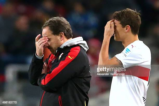 Alexander Zorniger head coach of Stuttgart reacts with his player Philip Heise during the Bundesliga match between VfB Stuttgart and FC Augsburg at...