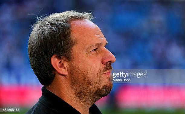 Alexander Zorniger head coach Stuttgart looks on before the Bundesliga match between Hamburger SV and VfB Stuttgart at Volksparkstadion on August 22...