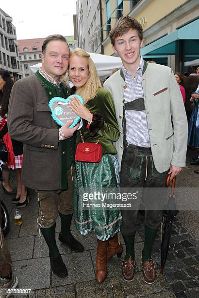 Alexander zu SchaumburgLippe and Nadja Anna zu SchaumburgLippe and Donatus zu SchaumburgLippe attend the Tiffany Wiesn in front of the Tiffany shop...