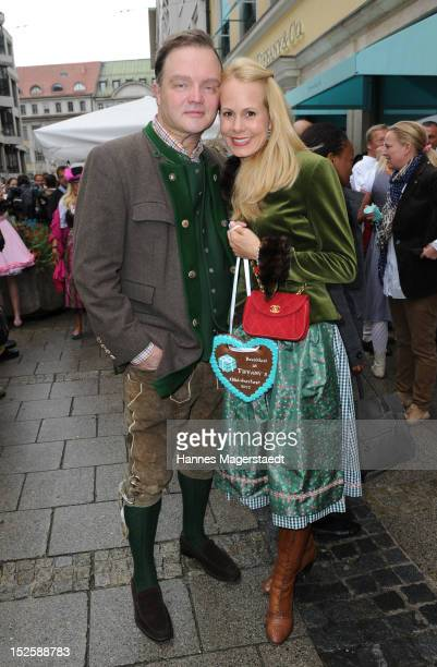Alexander zu SchaumburgLippe and Nadja Anna zu SchaumburgLippe attend the Tiffany Wiesn in front of the Tiffany shop before the 'Oktoberfest Opening'...