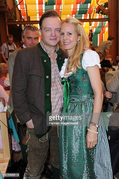 Alexander zu SchaumburgLippe and Nadja Anna zu SchaumburgLippe attend the Tiffany Wiesn at the Schuetzenzelt during the Oktoberfest beer festival at...