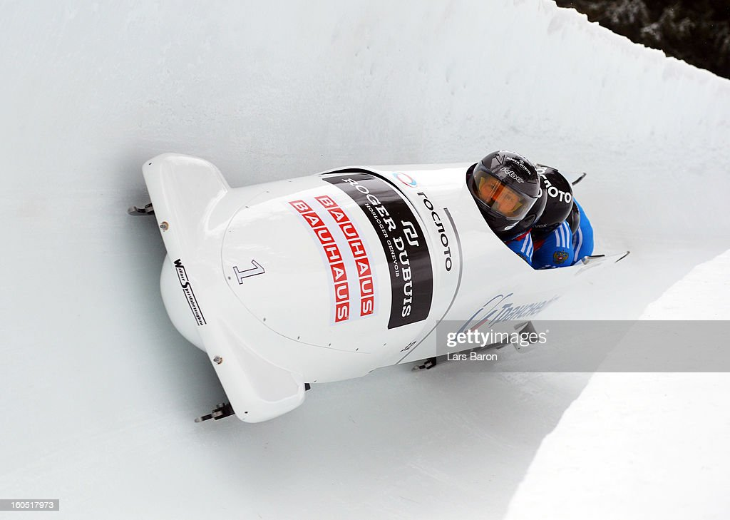 Alexander Zubkov, Alexey Negodaylo, Dmitry Trunenkov and Maxim Mokrousov of Russia compete during the Four Men Bobsleigh heat one of the IBSF Bob & Skeleton World Championship at Olympia Bob Run on February 2, 2013 in St Moritz, Switzerland.