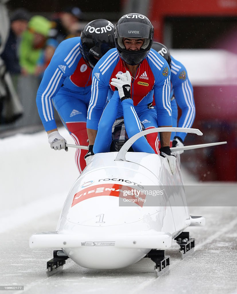 Alexander Zubkov drives Russian 1 sled to a first place finish in the FIBT Men's Four Man Bobsled World Cup Heat 1 at Utah Olympic Park on November 17, 2012 in Park City, Utah.