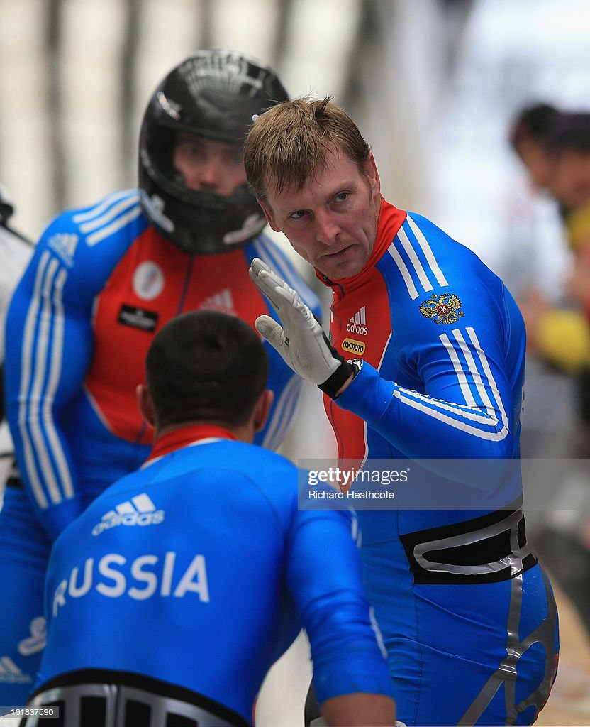 Alexander Zubkov of Russia aknowledges the home crowd after his 2nd run during the 4 man Bobsleigh Viessman FIBT Bob & Skeleton World Cup at the Sanki Sliding Center in Krasnya Polyana on February 17, 2013 in Sochi, Russia. Sochi is preparing for the 2014 Winter Olympics with test events across the venues.