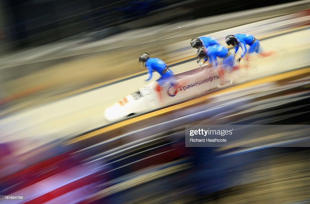 Alexander Zubkov of Russia launches his sled down the track during the 4 man Bobsleigh Viessman FIBT Bob & Skeleton World Cup at the Sanki Sliding Center in Krasnya Polyana on February 17, 2013 in Sochi, Russia. Sochi is preparing for the 2014 Winter Olympics with test events across the venues.