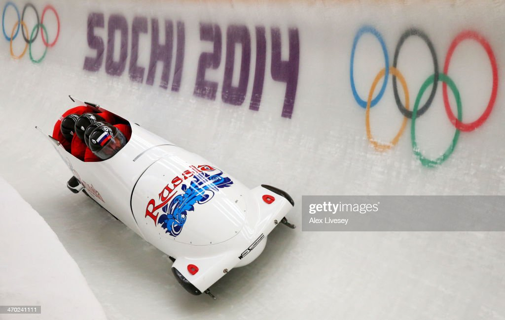 Alexander Zubkov of Russia pilots a run during a four-man bobsleigh practice session on Day 12 of the Sochi 2014 Winter Olympics at Sliding Center Sanki on February 19, 2014 in Sochi, Russia.