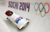 Alexander Zubkov of Russia pilots a run during a fourman bobsleigh practice session on Day 12 of the Sochi 2014 Winter Olympics at Sliding Center...