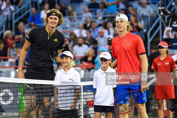 Alexander Zverev and Denis Shapovalov at players presentation before their semifinal match at ATP Coupe Rogers on August 12 at Uniprix Stadium in...