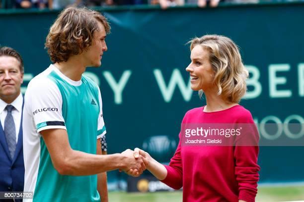 Alexander Zverev and Eva Herzigova after the men's singles match Roger Federer of Suiss against Alexander Zverev of Germany on Day 9 of the Gerry...