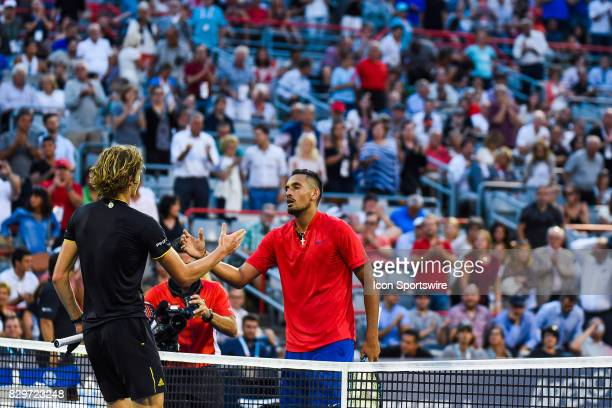 Alexander Zverev and Nick Kyrgios shaking hands after their third round match at ATP Coupe Rogers on August 10 at Uniprix Stadium in Montreal QC