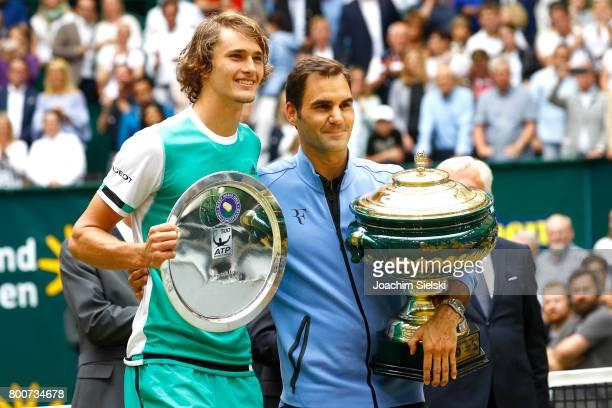 Alexander Zverev and Roger Federer after the men's singles match Roger Federer of Suiss against Alexander Zverev of Germany on Day 9 of the Gerry...