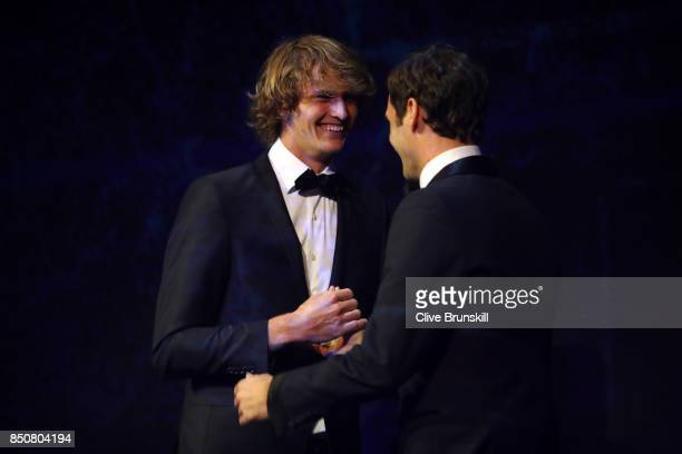 Alexander Zverev and Roger Federer of Team Europe on stage at the Laver Cup Gala dinner ahead of the Laver Cup on September 21 2017 in Prague Czech...