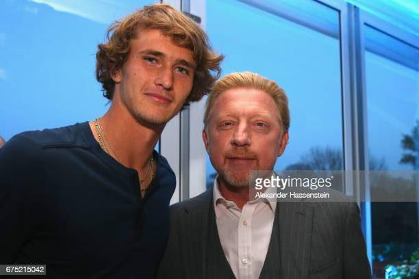 Alexander Zverev attends with Boris Becker the Players Night of the 102 BMW Open by FWU at Iphitos tennis club on April 30 2017 in Munich Germany