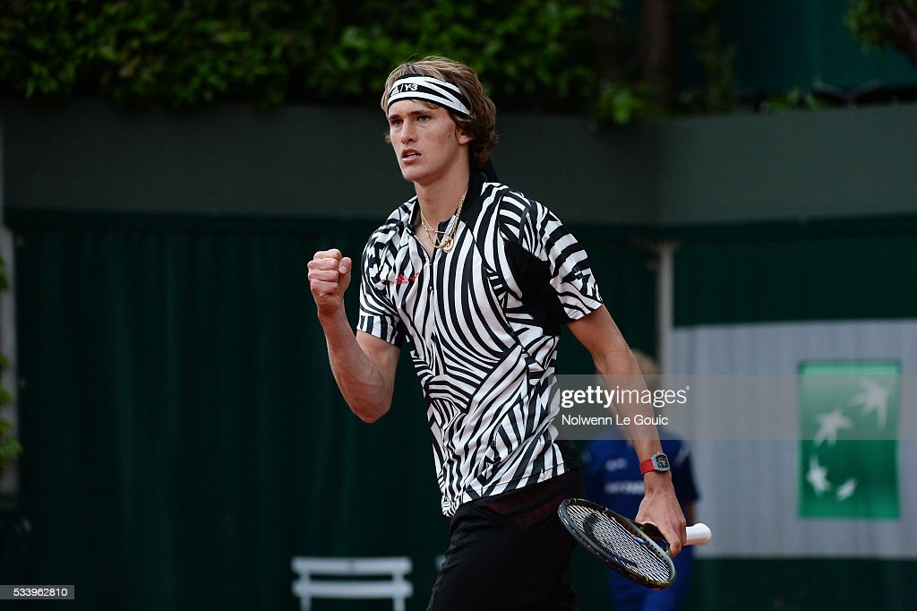 Alexander Zverev celebrates during the Men's Singles first round on day three of the French Open 2016 at Roland Garros on May 24, 2016 in Paris, France.